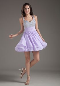 Hot Sale Lilac Mini-length Interview Pageant Dress with Beading and Straps
