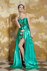 New Leopard Green Sweetheart Beaded Pageant Girl Dresses with High Slit