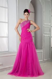 Popular Mermaid Beaded One Shoulder Hot Pink Pageant Dresses For Girls
