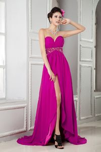 Fuchsia Sweetheart High Slit Girl Pageant Dress with Beaded Waist in Ceres