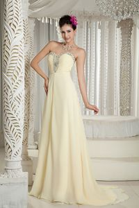 Wholesale Light Yellow Beaded Sweetheart Brush Train Dress For Pageant