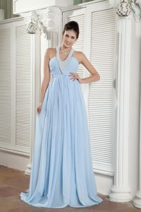Hot Sale Beaded Halter Light Blue Long Youth Pageant Dresses with Ruche