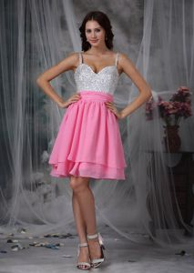 Lovely White and Pink Short Pageant Dress with Beading and Straps in Duns