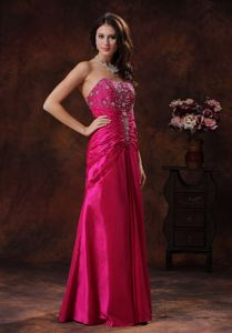 New Hot Pink Strapless Long Miss Mississippi Pageant Dress with Beading