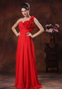 Luxurious Red Flowers One Shoulder Full-length Dress For Pageants in Nj