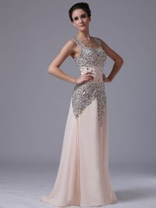 Elegant Square Champagne Long Pageant Dresses with Beading Over Skirt