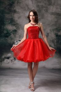 Hot Sale Strapless Red Mini-length Miss Universe Pageant Dress with Sequins