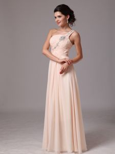 Pretty Light Pink Beaded Single Shoulder Long Dresses For Pageants in Alva