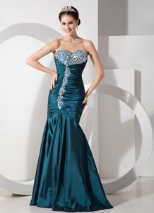 Mermaid Girl Pageant Dress with Ruches and Beadings in Teal in Elaine