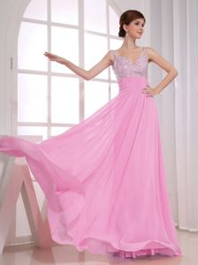 2013 Empire Straps Rose Pink Pageant Dresses with Beadings From Dinuba