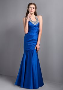 Royal Blue Mermaid Halter Glitz Pageant Dresses with Beads in Denair