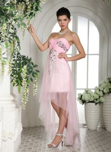 Baby Pink High-low Pageant Dresses with Beadings Over Bodice in Atlantico