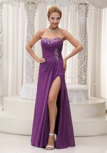 High Slit Sweetheart Beaded Purple Pageant Dresses for Girls From Acton