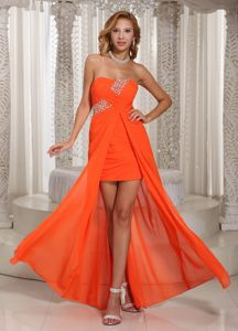 High-low Beaded Chiffon Orange Red Beauty Pageant Dresses in Florence