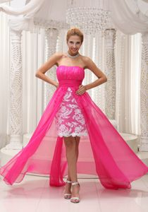 High-low Strapless Ruched Dresses for Pageants with Lace In Nj in Eagar