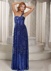 Blue Paillette Over Skirt One Shoulder Style Pageant Dresses in Dewey