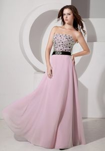 Strapless Beaded Floor-length Pageant Dress in Light Pink From Chloride