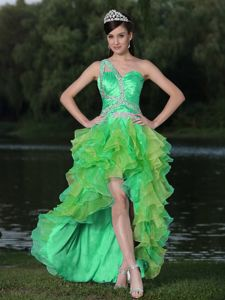High-low One Shoulder Ruffled Miss Universe Pageant Dress in Bullhead