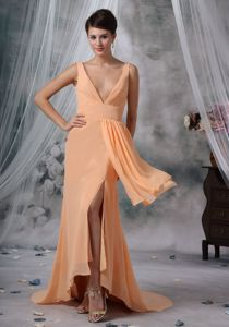 Light Orange High-low V-neck Pageant Dresses for Miss America in Bouse