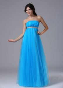 Aqua Blue Beaded 2013 Pageant Dresses with Belt for Miss USA in Bisbee