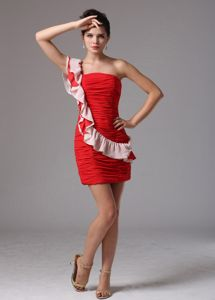 One Shoulder Ruched Pageant Dresses for Girls in Wine Red From Fresno