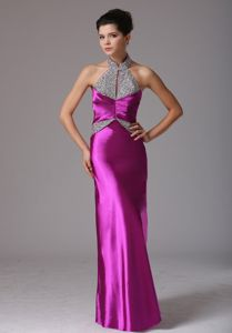 Halter Beaded Decorate Beauty Pageant Dresses in Fuchsia in French Camp