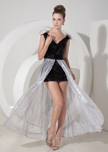 Black and Silver V-neck Youth Pageant Dresses with Sequins in Freedom