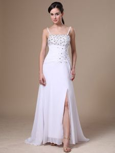 Straps Chiffon Beaded Interview Pageant Suits in High Slit From Fortuna