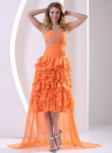 Sweetheart High-low Pageant Dresses for Miss USA with Beads and Ruffles