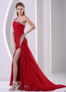 Wine Red One Shoulder Beaded Glitz Pageant Dresses in Chiffon in Fontana