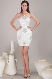 White Asymmetrical Beaded Pageant Dresses for Miss USA in Fall River Mills