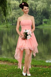 Chiffon Beaded Mini-length Light Pink Empire Pageant Dresses with Strapless in Salem