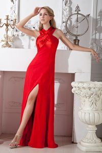 Floor-length Elastic Woven Satin Red Column Pageant Dresses in Cross Straps in Taos