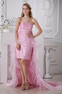 High-low Taffeta and Organza Baby Pink Strapless Pageant Dresses in Beading in Reno