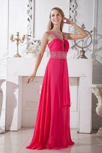 Affordable Sexy Coral Red V-neck Chiffon Interview Pageant Suits in Brush Train in Biloxi