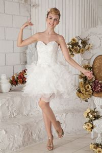 A-line Sweetheart White Mini-length Organza Interview Pageant Suits in Beading in Taos