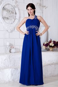 Royal Blue Empire One Shoulder Chiffon Pageant Dresses with Appliques form Salem
