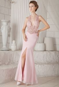 V-neck Floor-length Chiffon Pink Column Interview Pageant Suits with Appliques in Biloxi