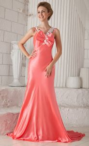 Spaghetti Straps Elastic Woven Satin WatermelonPageant Dresses in Beading in Troy