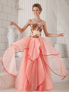 Watermelon Strapless Floor-length Organza Pageant Dresses with Appliques form Reno
