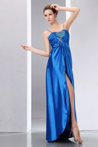 Floor-length Elastic Wove Satin Spaghetti Straps Pageant Dresses in Beading form Biloxi