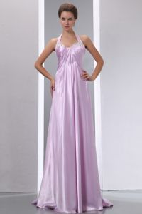 Lavender Halter Appliques Brush Train Pageant Dresses in Elastic Woven Satin in Flint