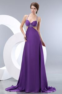 Beaded Brush Train Empire Straps Elastic Woven Satin Pageant Dresses in Purple in Taos