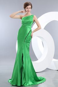 Spring Green Mermaid One Shoulder Girl Pageant Dress in Elastic Woven Satin in Flint