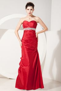 Mermaid Sweetheart Red Satin Glitz Pageant Dresses with Beading and Ruches in Troy