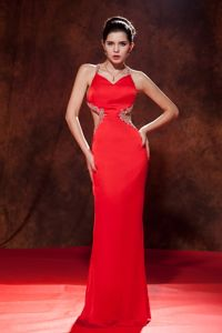Brush Train Chiffon Beaded Spaghetti Straps Dresses for Pageants In Nj in Red in Biloxi