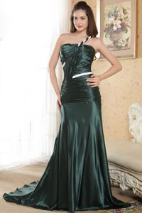 Elastic Woven Satin Dark Green One Shoulder Girl Pageant Dress with Ruches in Flint