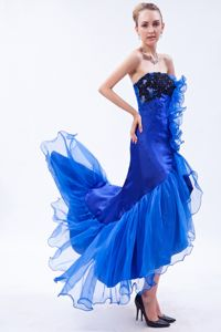 Mermaid Strapless High-low Royal BlueGlitz Pageant Dresses in Appliques form Acton