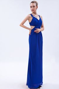 Royal Blue Empire Straps Chiffon Pageant Dresses for Miss World with Ruches in Taos