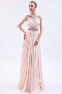 Chiffon Beaded Pink Empire Straps Dresses for Pageants In Nj in Brush Train in Biloxi
